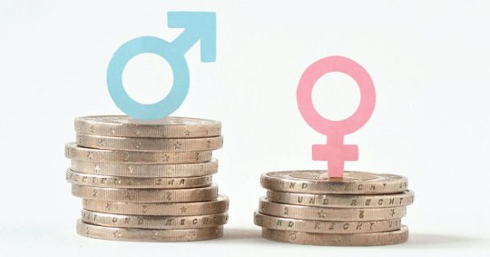 Caption: Male and female symbols on piles of coins - Gender pay equality concept; Shutterstock ID 1031720434; Purchase Order: - Photographer: CalypsoArt Provider: Shutterstock / CalypsoArt Source: Shutterstock