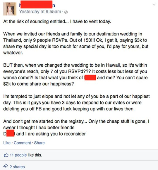Bride Threatens To Delete Friends On Facebook For Refusing