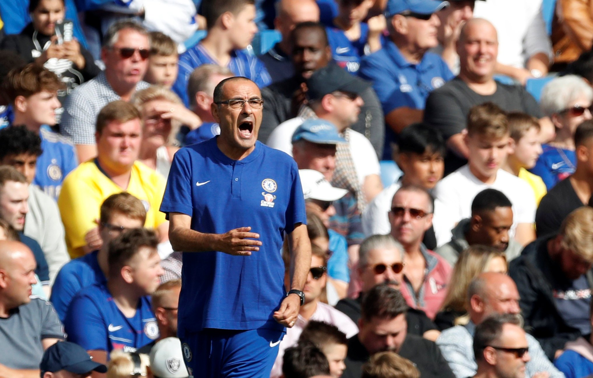 "Soccer Football - Premier League - Chelsea v Cardiff City - Stamford Bridge, London, Britain - September 15, 2018 Chelsea manager Maurizio Sarri reacts Action Images via Reuters/Matthew Childs EDITORIAL USE ONLY. No use with unauthorized audio, video, data, fixture lists, club/league logos or ""live"" services. Online in-match use limited to 75 images, no video emulation. No use in betting, games or single club/league/player publications. Please contact your account representative for further details."