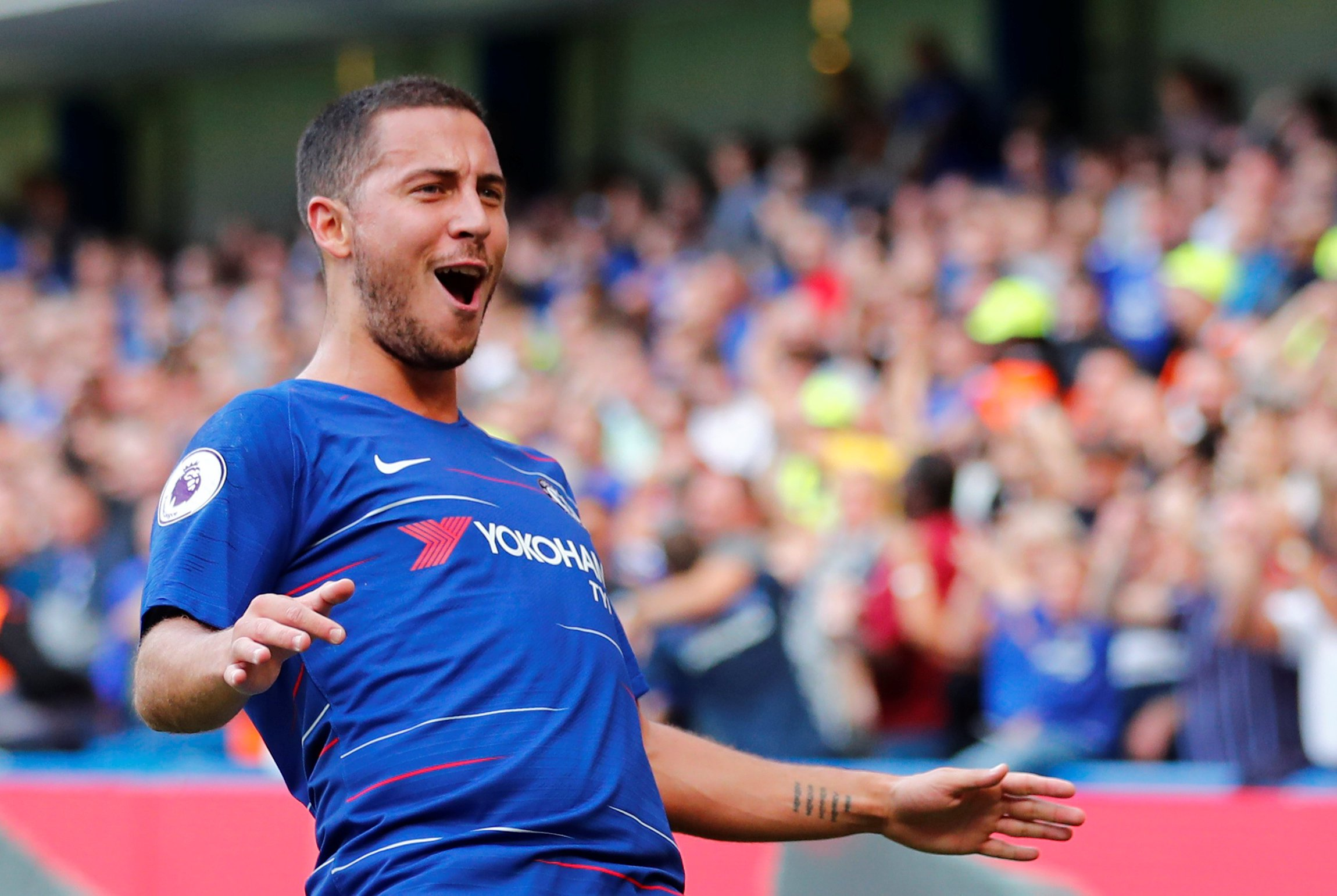 "Soccer Football - Premier League - Chelsea v Cardiff City - Stamford Bridge, London, Britain - September 15, 2018 Chelsea's Eden Hazard celebrates scoring their first goal REUTERS/Eddie Keogh EDITORIAL USE ONLY. No use with unauthorized audio, video, data, fixture lists, club/league logos or ""live"" services. Online in-match use limited to 75 images, no video emulation. No use in betting, games or single club/league/player publications. Please contact your account representative for further details."