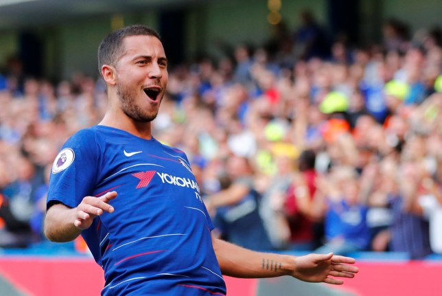 """Soccer Football - Premier League - Chelsea v Cardiff City - Stamford Bridge, London, Britain - September 15, 2018 Chelsea's Eden Hazard celebrates scoring their first goal REUTERS/Eddie Keogh EDITORIAL USE ONLY. No use with unauthorized audio, video, data, fixture lists, club/league logos or """"live"""" services. Online in-match use limited to 75 images, no video emulation. No use in betting, games or single club/league/player publications. Please contact your account representative for further details."""