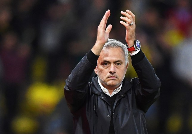 epa07023413 Manchester United manager Jose Mourinho applauds supporters after the English Premier League soccer match between Watford FC and Manchester United in Watford, Britain, 15 September 2018. EPA/FACUNDO ARRIZABALAGA EDITORIAL USE ONLY. No use with unauthorized audio, video, data, fixture lists, club/league logos or 'live' services. Online in-match use limited to 75 images, no video emulation. No use in betting, games or single club/league/player publications