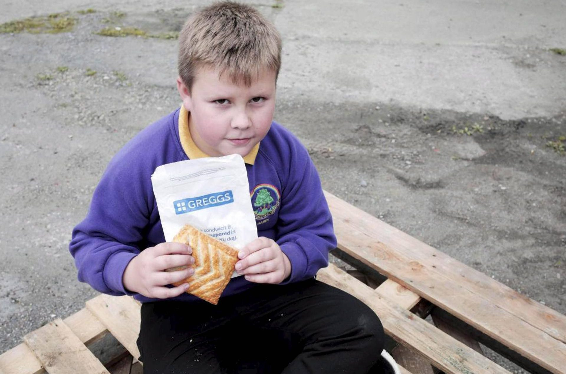 Dated: 16/09/2018 Nine-year-old Henry Hardy, from Staindrop, County Durham, who was shocked to find chunks of WOOD from a pallet inside his Greggs cheese and onion pasty, to the horror of his mum Julie Dent. See story North News