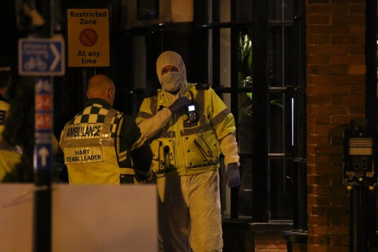 The scene outside Prezzo in Salisbury, Wiltshire where two people were taken ill. See SWNS copy SWPREZZO: A part of Salisbury is on lockdown after two people people fell ill at a restaurant in the city. Emergency services, some wearing white full-body hazmat suits, are currently attending the incident at Prezzo on High Street and have been at the scene since 6.45pm. A spokesperson for Wiltshire Police said: ?Police were called by the ambulance service to Prezzo, High Street, Salisbury, at 6.45pm today (16 September) following a medical incident involving two people ? a man and a woman.