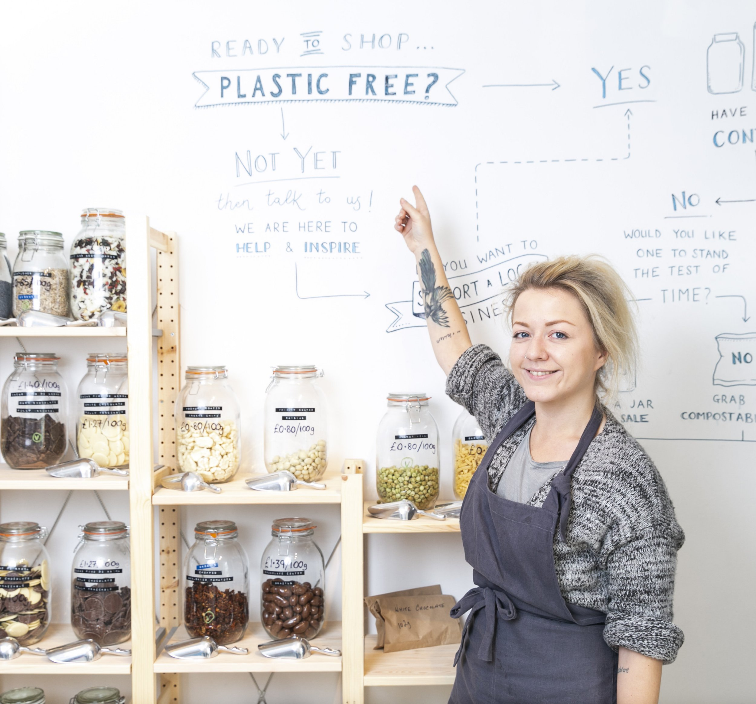 Abbie Sellers (26), of Ramsbottom in Greater Manchester, has opened a plastic free shop. Abbie opened her shop on the 1st September 2018. See Ross Parry story RPYPLASTIC. September 17, 2018.