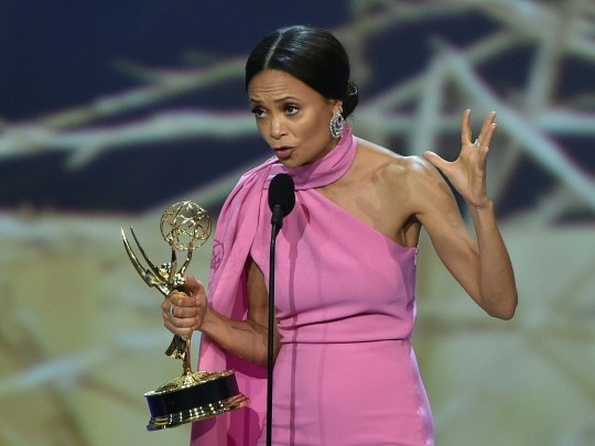Thandie Newton accepts the Outstanding Supporting Actress in a Drama Series award for 'Westworld' onstage during the 70th Emmy Awards at the Microsoft Theatre in Los Angeles, California on September 17, 2018. (Photo by Robyn BECK / AFP)ROBYN BECK/AFP/Getty Images