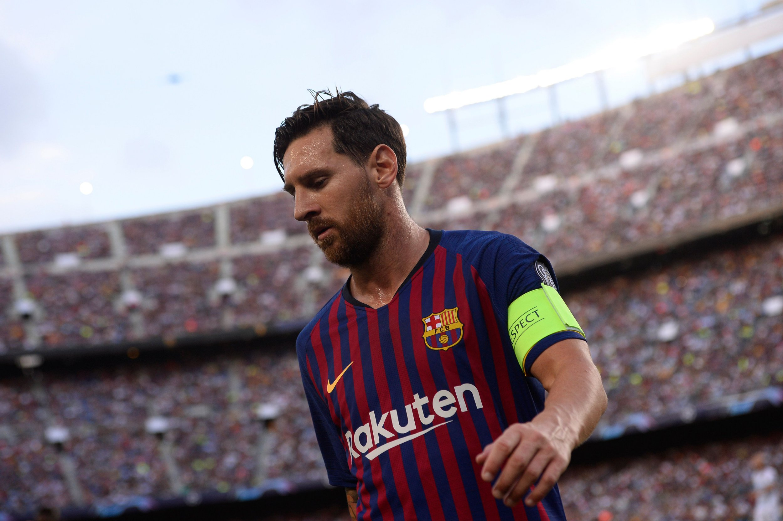 Barcelona's Argentinian forward Lionel Messi runs during the UEFA Champions' League group B football match FC Barcelona against PSV Eindhoven at the Camp Nou stadium in Barcelona on September 18, 2018. (Photo by Josep LAGO / AFP)JOSEP LAGO/AFP/Getty Images