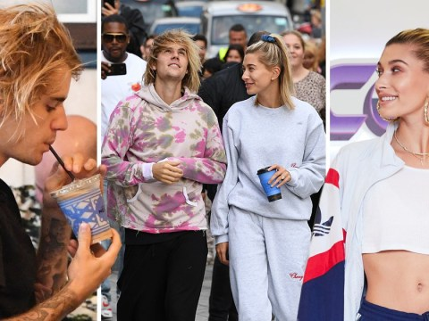 Justin Bieber slurps on coffee as he tops up caffeine on London day out with Hailey Baldwin