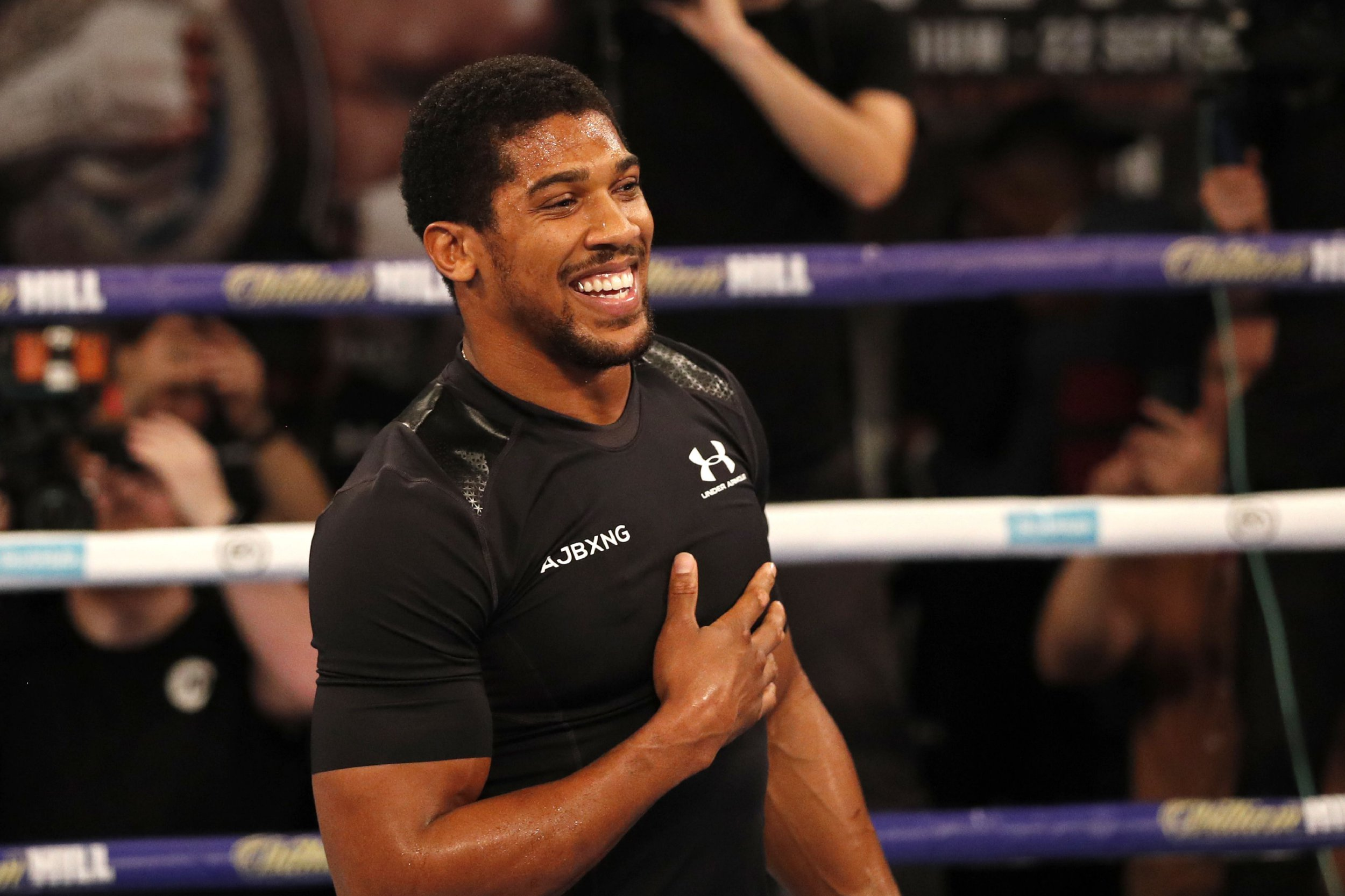 Britain's Anthony Joshua trains during a pre-fight public work out press conference at York Hall, east London on September 19, 2018 ahead of his heavyweight boxing bout against Russia's Alexander Povetkin set for September 22. (Photo by Adrian DENNIS / AFP)ADRIAN DENNIS/AFP/Getty Images