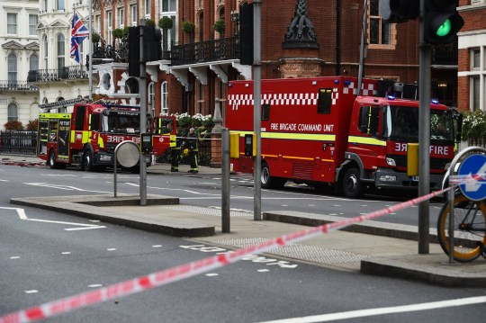 Emergency services at the scene near Kensington Court in London after reports of a chemical spillage at the Milestone Hotel. PRESS ASSOCIATION Photo. Picture date: Thursday September 20, 2018. See PA story POLICE Milestone. Photo credit should read: Kirsty O'Connor/PA Wire