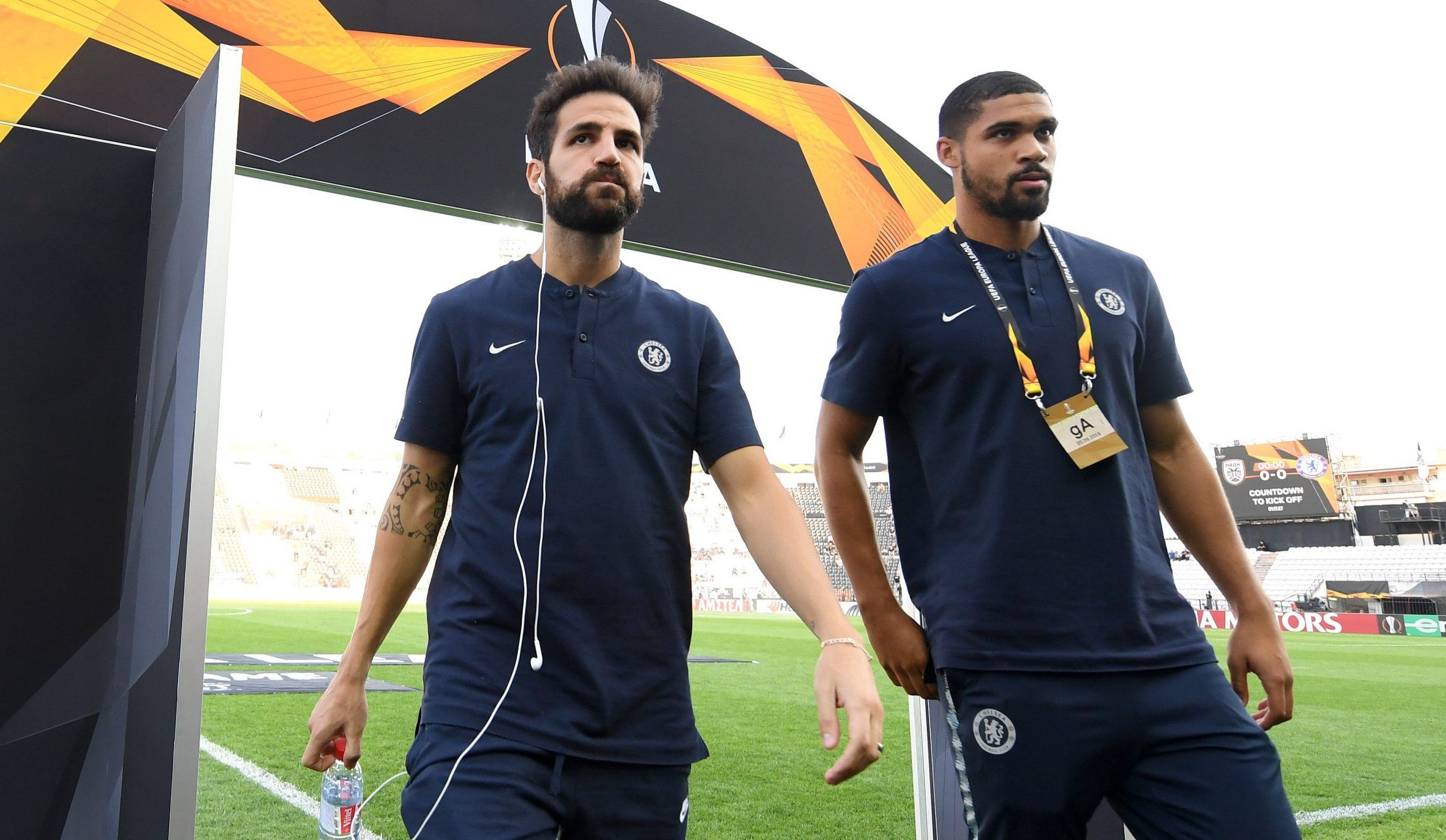 THESSALONIKI, GREECE - SEPTEMBER 20: Cesc Fabregas of Chelsea and Ruben Loftus-Cheek of Chelsea take a look around the pitch prior to the UEFA Europa League Group L match between PAOK and Chelsea at Toumba Stadium on September 20, 2018 in Thessaloniki, Greece. (Photo by Darren Walsh/Chelsea FC via Getty Images)