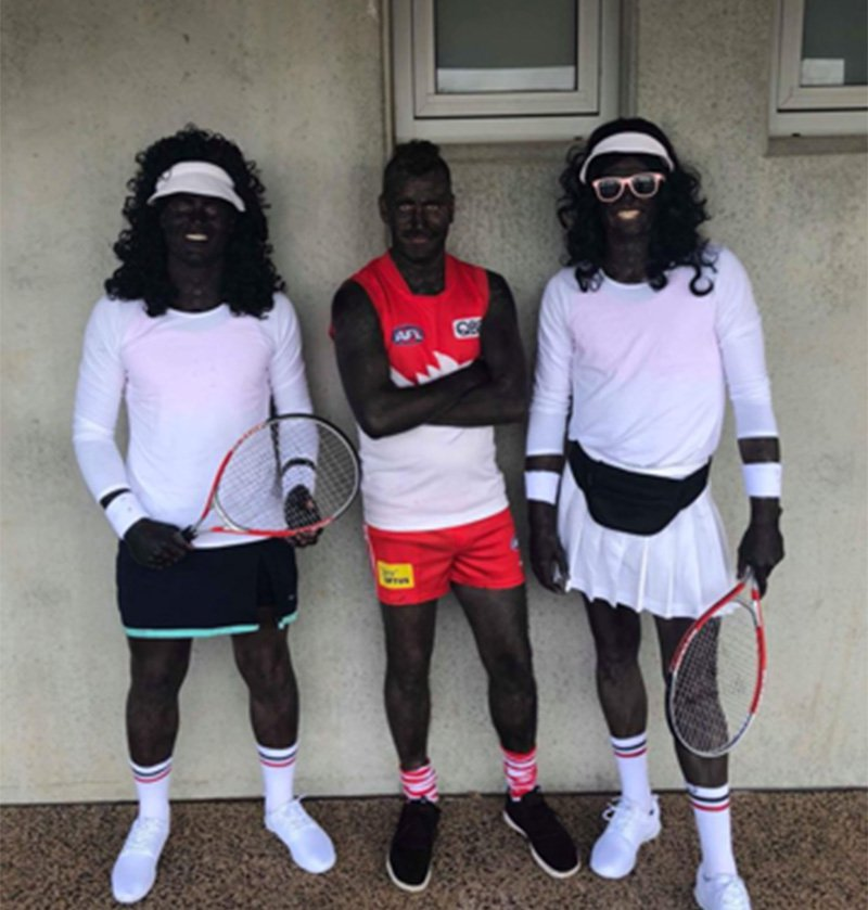 Three Australian amateur league football players have painted their bodies black in a shocking case of Blackface for their club's Mad Monday celebration. Among the three Tasmanian Penguin Football Club players were two men, Mitch Stanley and Matt Chamberlain, dressed as Serena and Venus Williams. The third, Beau Grundy, stood between his teammates dressed as Sydney Swans player Aliir Aliir, as they posed for the occasion this week. (Picture: Facebook)