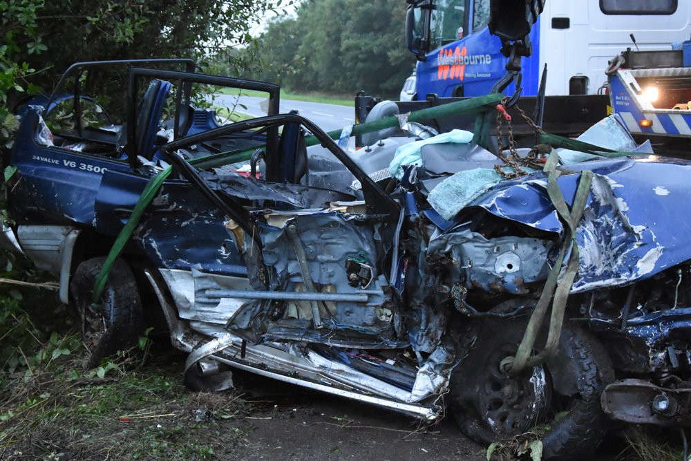 (Picture: Sussex Police) These images illustrate the devastation caused by a head-on collision near Bognor Regis. Kevin Zhou managed to escape from his mangled red Jaguar F Pace uninjured and ran from the scene without checking on the welfare of anyone else. He had veered into the path of an oncoming blue Mitsubishi Shogun, which ended up in a ditch. The victim, Rusty Brown, 45, from Bognor Regis, was trapped and had to be released by firefighters using hydraulic equipment. He sustained life-changing injuries. The collision occurred on the A259 Chichester Road, North Bersted, shortly before 12.30am on Thursday 17 August, 2017. No one else was involved.