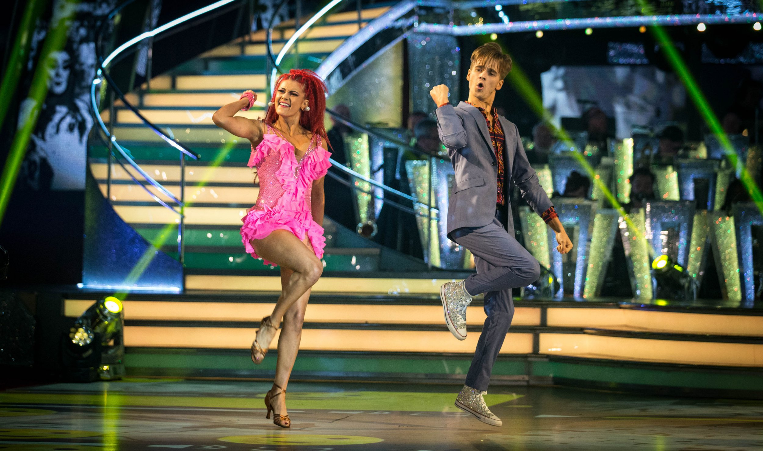 Embargoed to 2035 Saturday September 22 For use in UK, Ireland or Benelux countries only Undated BBC handout photo of Dianne Buswell and Joe Sugg during a dress rehearsal for Strictly Come Dancing. PRESS ASSOCIATION Photo. Issue date: Saturday September 22, 2018. See PA story SHOWBIZ Strictly. Photo credit should read: Guy Levy/BBC/PA Wire NOTE TO EDITORS: Not for use more than 21 days after issue. You may use this picture without charge only for the purpose of publicising or reporting on current BBC programming, personnel or other BBC output or activity within 21 days of issue. Any use after that time MUST be cleared through BBC Picture Publicity. Please credit the image to the BBC and any named photographer or independent programme maker, as described in the caption.