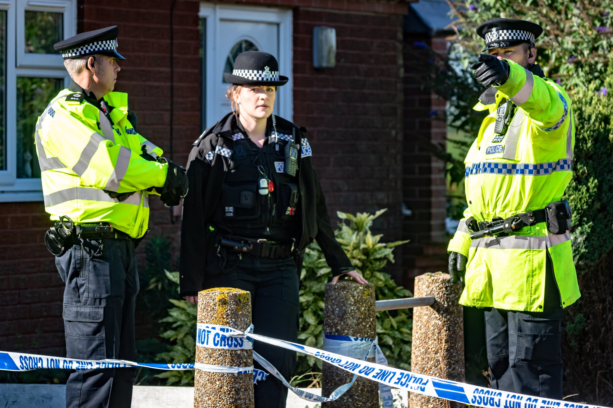 Police officers outside the house of Frances Hubbard, 81, who was found stabbed in her home in Brooke near Norwich, Norfolk, on Sunday morning. September 24 2018 .See Masons story MNSTAB .A man in his 80s is today (mon) being quizzed on suspicion of murder after an elderly woman was found stabbed to death at her home. The victim, named locally as Frances Hubbard, 81, was discovered with fatal stab wounds at her sheltered housing bungalow yesterday morning (sun).She shared her home in the rural village of Brooke near Norwich, Norfolk, with husband Michael, 81. Norfolk Police refused to confirm whether he was the man being held in police custody but confirmed 'the suspect and the victim were known to each other'.