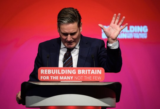 """LIVERPOOL, ENGLAND - SEPTEMBER 25: Shadow Secretary of State for Brexit Keir Starmer addresses delegates in the Exhibition Centre Liverpool, during day three of the annual Labour Party conference, on September 25, 2018 in Liverpool, England. Labour's annual conference is taking place from September 23 - September 26, held under the official slogan """"Rebuilding Britain, for the many, not the few"""". (Photo by Leon Neal/Getty Images)"""