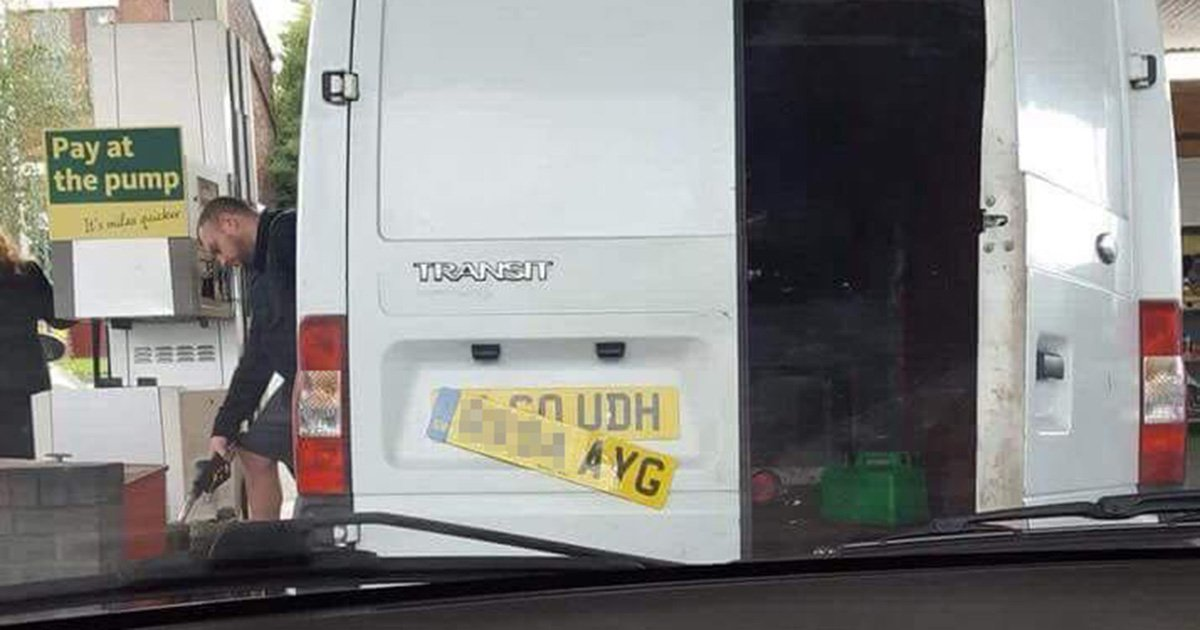 Hunt for white van man caught with two number plates at petrol station