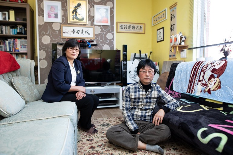 ? Joel Goodman for Metro - 07973 332324 . 25/09/2018 . Bury , UK . North Korean refugee JIHYUN PARK (50) with her husband KWANG HYUN JOO (60) at their home in Bury . Jihyun was imprisoned , tortured and trafficked by the regime in North Korea before she managed to escape with the help of her husband . Photo credit : Joel Goodman