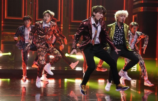 "THE TONIGHT SHOW STARRING JIMMY FALLON -- Episode 0931 -- Pictured: Band BTS performs ""Idol"" on September 25, 2018 -- (Photo by: Andrew Lipovsky/NBC/NBCU Photo Bank via Getty Images)"