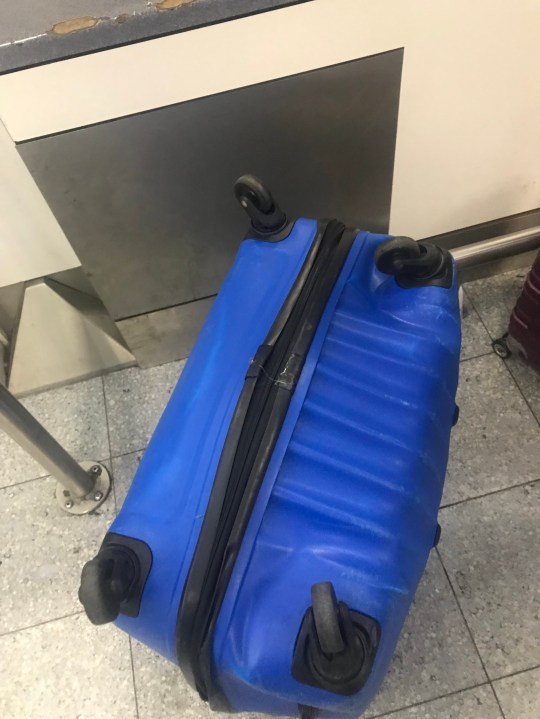 These images show the broken and battered suitcases that some passengers have been left with after their trips abroad. Readers have told the M.E.N of their experiences after footage emerged of Swissport ground handlers at Manchester Airport throwing bags on to a trailer with such force they fell on to the ground below. Caption: Craig Coop's suitcase at Manchester Airport which he says was damaged on the flight from Singapore