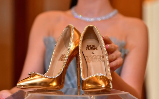 A pair of shoes worth 17 million US dollars are seen on display at Burj Al Arab during the launch presentation in Dubai on September 25, 2018. - The Passion Diamond Shoes, features hundreds of diamonds, together with two imposing D-flawless diamonds of 15 carats each. (Photo by GIUSEPPE CACACE / AFP)GIUSEPPE CACACE/AFP/Getty Images