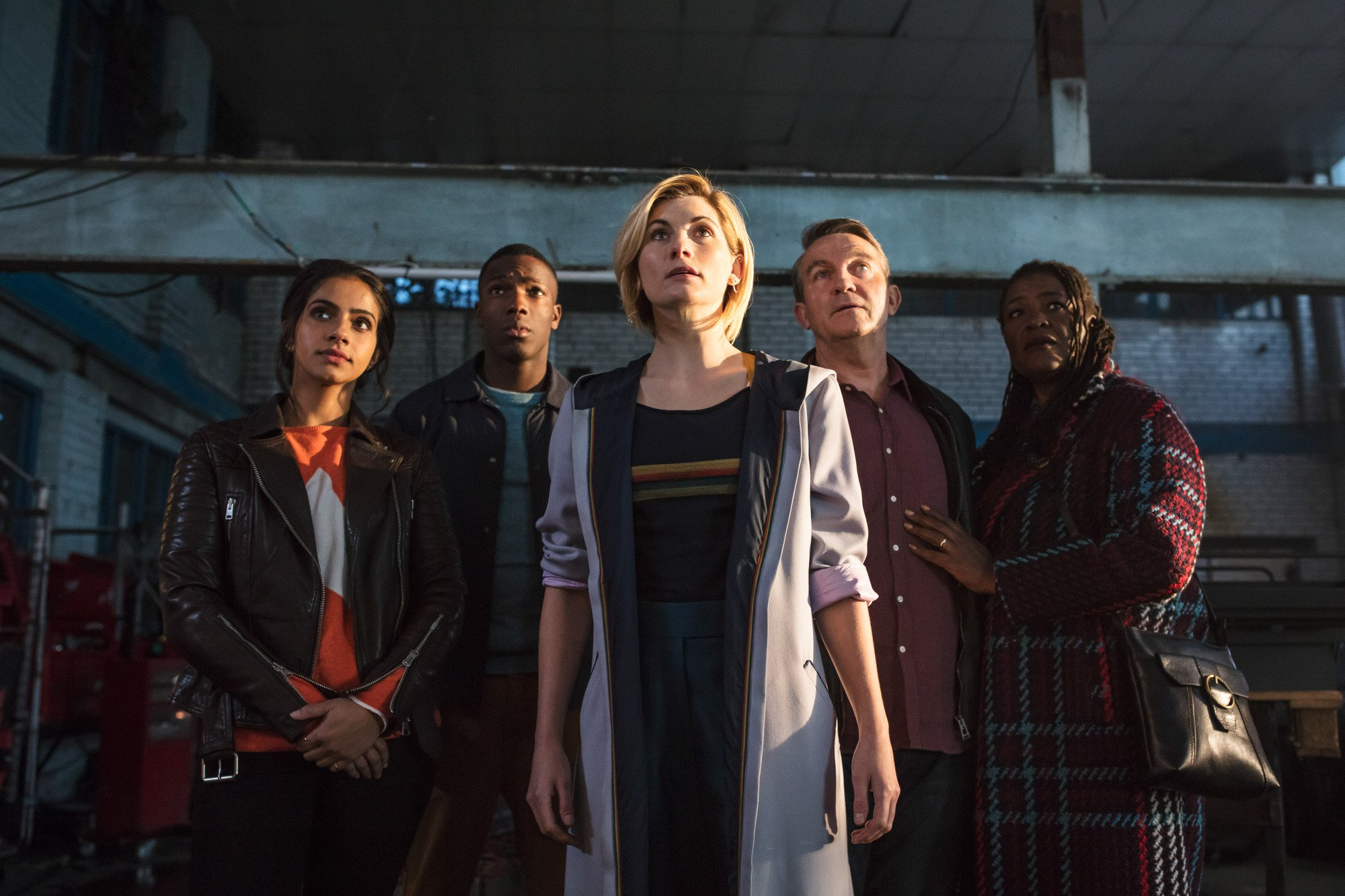 WARNING: Embargoed for publication until 00:00:01 on 27/09/2018 - Programme Name: Doctor Who Series 11 - TX: n/a - Episode: n/a (No. 1) - Picture Shows: **Strictly Embargoed until 27/09/2018 00:00:01** Yaz (MANDIP GILL), Ryan (TOSIN COLE), The Doctor (JODIE WHITTAKER), Graham (BRADLEY WALSH), Grace (SHARON D CLARKE) - (C) BBC / BBC Studios - Photographer: Sophie Mutevelian