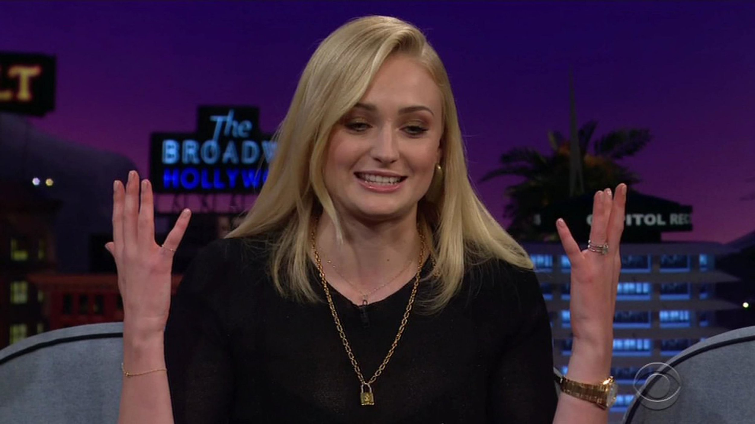 """BGUK_1352609 - ** RIGHTS: WORLDWIDE EXCEPT IN UNITED STATES ** Los Angeles, CA - Sophie Turner reveals on The Late Late Show she hid in a closet and cried after fiance Joe Jonas introduced her to her crush Justin Bieber. The Games of Thrones actress laughed as she revealed that it wasn't Joe she lusted after as a teenager - instead she had the hots for pop superstar Justin Bieber. Corden showed the audience a photo of a teenage Turner standing next to a cardboard cutout of Bieber. """"I think that was the day after I finished my GCSE exams,"""" Turner explained. The actress then revealed the cutout was actually created by her mother, who seemed more than aware of her daughter's fan-filled obsession with all things concerning her crush. """"My mom, as a gift, for finishing my GCSEs, made a cardboard cutout of Justin Bieber and I together and I cried. I fell up the stairs and I cried,"""" Turner said. Years later, however, Turner would burst into years again when she found herself at a house in Miami where she ran into the Baby singer. """"I was told that Justin was there and I walked upstairs. And we were getting a tour of the house. And he was sat there shirtless,"""" Turner said before bursting out in giggles. """"I was like: 'Hi, nice to meet you, I'm Sophie'. Played it cool, then ran into the closet and cried for like, five minutes,"""" she explained. """"Then I came out with Joe and Justin goes: 'Yo, Joe, I heard you've got a new girl?' And Joe was like: 'Yeah, there she is. She's over there'."""" Turner then said that her response upon hearing Bieber ask about Joe's new girlfriend was quite an embarrassing moment. She recalls sticking her tongue out between two fingers before demonstrating the act for Corden to see, leaving a cheer of laughter among the crowd. *BACKGRID DOES NOT CLAIM ANY COPYRIGHT OR LICENSE IN THE ATTACHED MATERIAL. ANY DOWNLOADING FEES CHARGED BY BACKGRID ARE FOR BACKGRID'S SERVICES ONLY, AND DO NOT, NOR ARE THEY INTENDED TO, CONVEY TO THE USER ANY COPYRIGHT OR LICENSE I"""