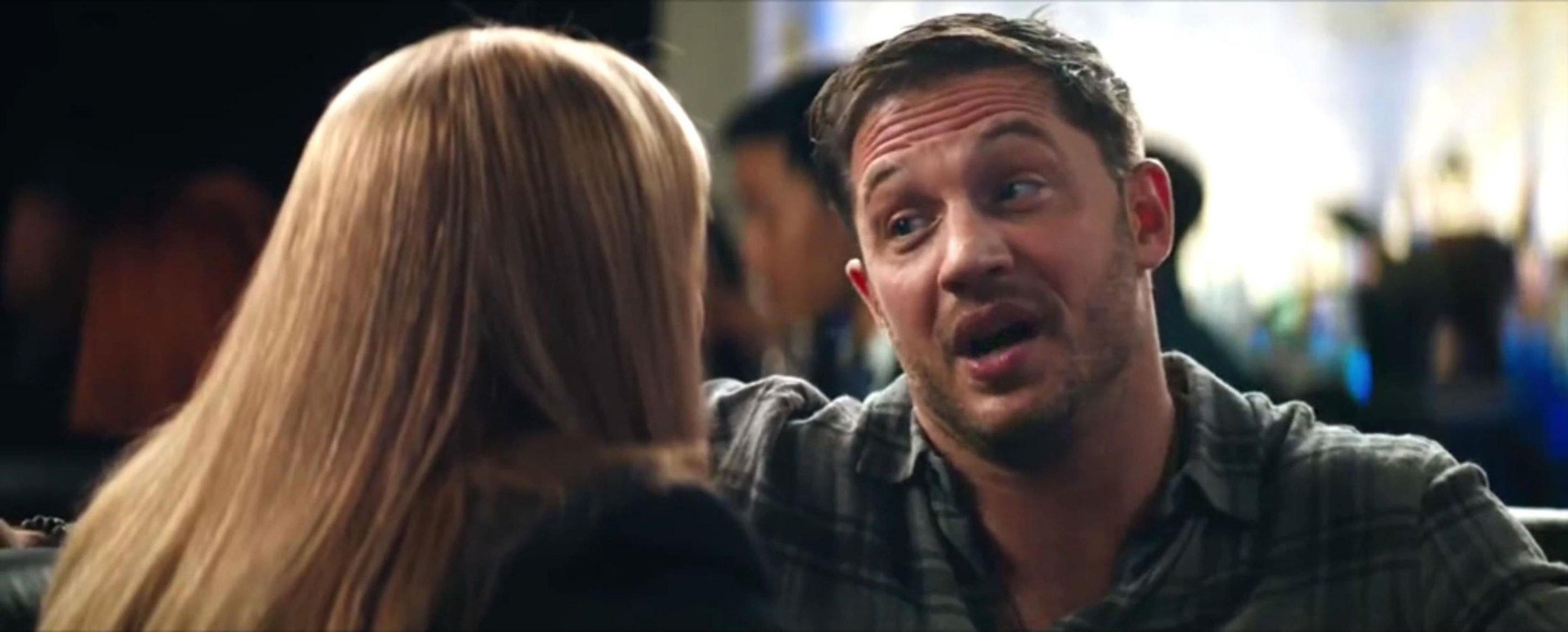 """BGUK_1352676 - ** RIGHTS: WORLDWIDE EXCEPT IN UNITED STATES ** Los Angeles, CA - Tom Hardy locks lips with Michelle Williams in new clip from Venom. In the brief clip, his character Eddie Brock's romantic side comes out as he shares a kiss with Michelle Williams, who plays his girlfriend Anne Weying. Sidling up close as they chat in a bar, Weying is flirty but still warns him to be careful. """"We don't want a repeat of the Daily Globe incident,"""" she gently admonishes, referencing the rival newspaper to Peter Parker's Daily Bugle. """"Baby you were run out of New York. I don't want you run out of San Francisco."""" Brock playfully fights back: """"I was going places. I wasn't running, I was going places. I moved to San Francisco for you, you are my home."""" """"You're not so bad yourself champ,"""" she replies, leaning in for a kiss. In the Marvel film, Brock is a journalist who bonds with an alien symbiote, which gives him superpowers but forces the two to share the same body. In the comics, Weying is the first person to become She-Venom, after bonding with the symbiote. Venom opens in cinemas on October 5, 2018. *BACKGRID DOES NOT CLAIM ANY COPYRIGHT OR LICENSE IN THE ATTACHED MATERIAL. ANY DOWNLOADING FEES CHARGED BY BACKGRID ARE FOR BACKGRID'S SERVICES ONLY, AND DO NOT, NOR ARE THEY INTENDED TO, CONVEY TO THE USER ANY COPYRIGHT OR LICENSE IN THE MATERIAL. BY PUBLISHING THIS MATERIAL , THE USER EXPRESSLY AGREES TO INDEMNIFY AND TO HOLD BACKGRID HARMLESS FROM ANY CLAIMS, DEMANDS, OR CAUSES OF ACTION ARISING OUT OF OR CONNECTED IN ANY WAY WITH USER'S PUBLICATION OF THE MATERIAL* Pictured: Tom Hardy, Michelle Williams BACKGRID UK 28 SEPTEMBER 2018 BYLINE MUST READ: Sony Pictures / BACKGRID UK: +44 208 344 2007 / uksales@backgrid.com USA: +1 310 798 9111 / usasales@backgrid.com *UK Clients - Pictures Containing Children Please Pixelate Face Prior To Publication*"""