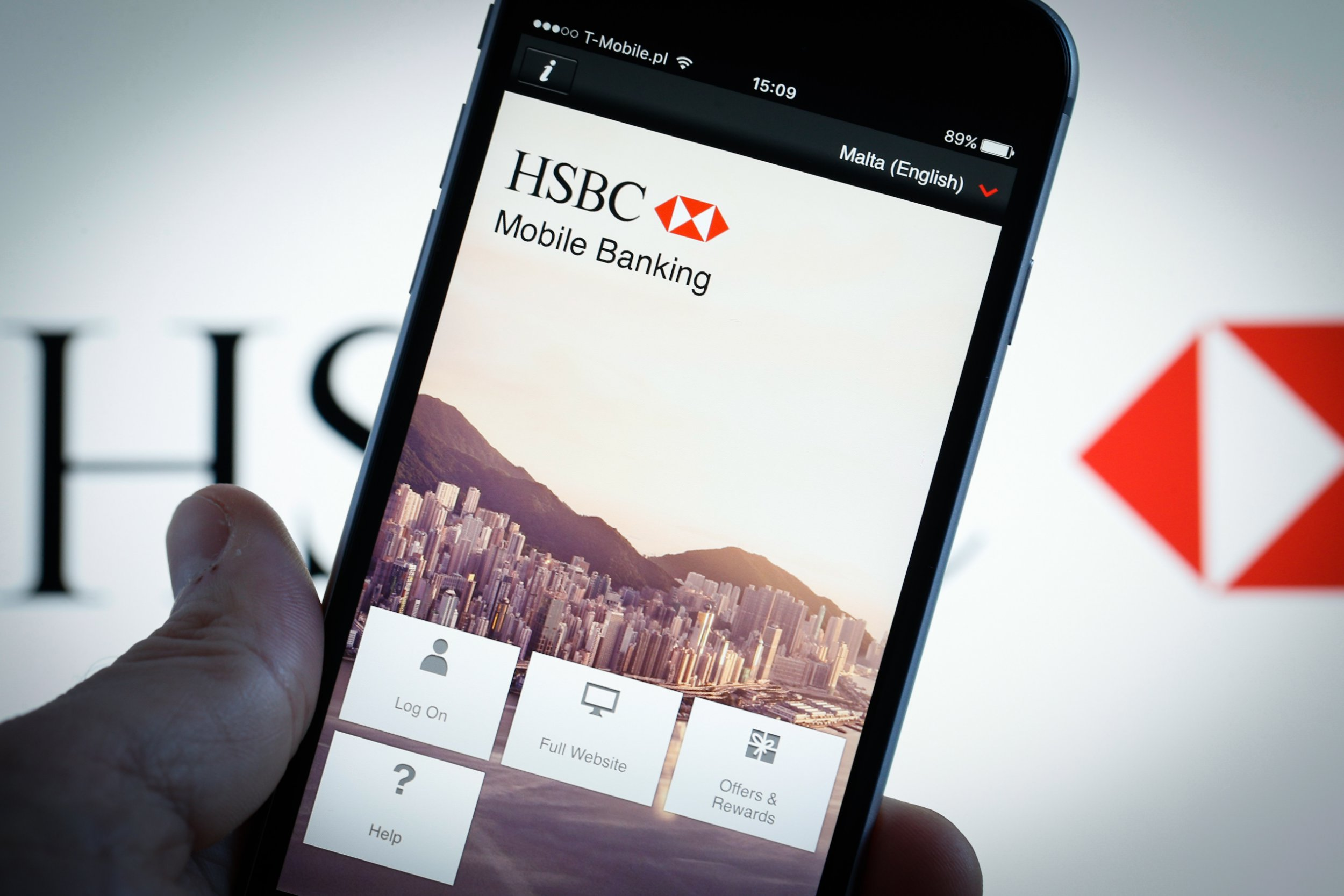 The smartphone app for HSBC banking is seen on 1 March, 2017, in Bydgoszcz, Poland. Earlier HSBC aknowledged it has been having issues with its online banking system and users have not been able to log on. (Photo by Jaap Arriens/NurPhoto via Getty Images)