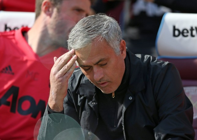 29th September 2018, London Stadium, London, England; EPL Premier League football, West Ham United versus Manchester United; Manchester Untied Manager Jose Mourinho looking disappointed (photo by John Patrick Fletcher/Action Plus via Getty Images)
