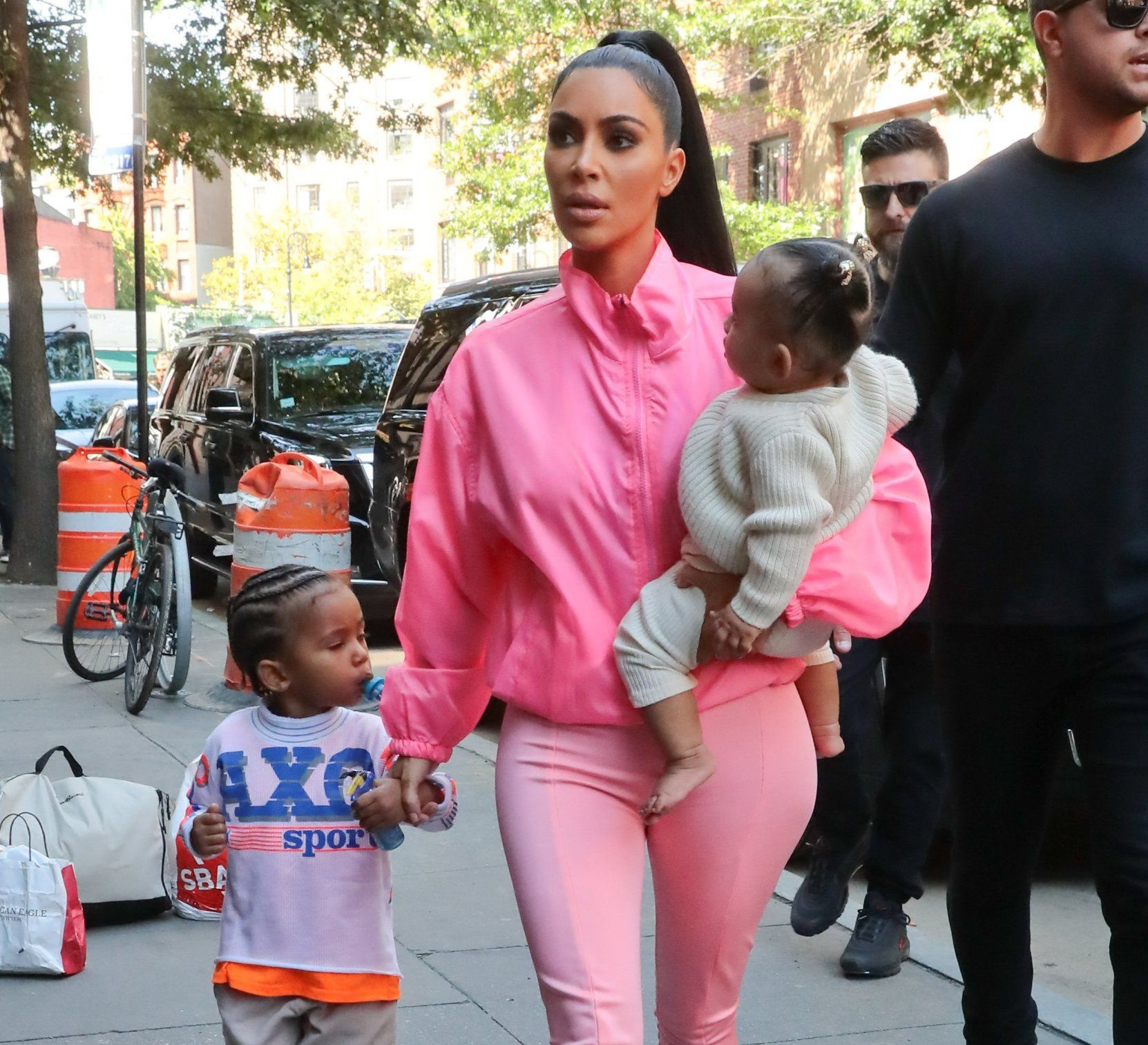 Reality star Kim Kardashian is seen arriving with her kids Saint and Chicago West at Electric Lady record studio in New York, NY. The reality star and mother is seen wearing an all pink outfit. Pictured: Kim Kardashian,Saint West,Chicago West Ref: SPL5029079 290918 NON-EXCLUSIVE Picture by: SplashNews.com Splash News and Pictures Los Angeles: 310-821-2666 New York: 212-619-2666 London: 0207 644 7656 Milan: +39 02 4399 8577 Sydney: +61 02 9240 7700 photodesk@splashnews.com World Rights,