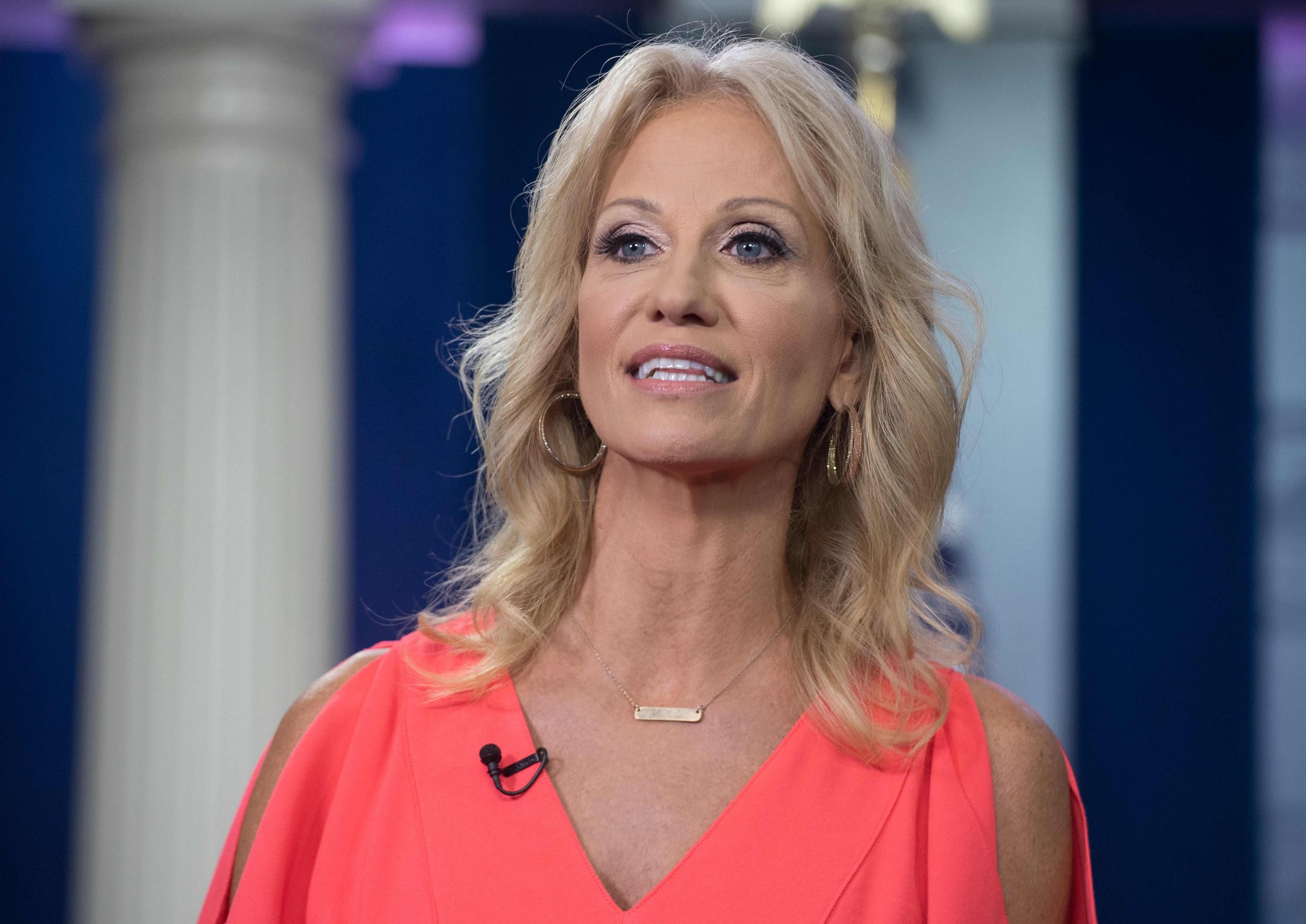 """(FILES) In this file photo taken on August 21, 2018 Kellyanne Conway, Counselor to US President Donald Trump, speaks to Fox News from the briefing room at the White House in Washington, DC. - Kellyanne Conway, a senior adviser to US President Donald Trump and one of the most public faces of his administration, revealed on September 30, 2018 that she has been a victim of sexual assault.Conway made the disclosure to CNN's Jake Tapper on his State of the Union news show, while defending Trump's embattled Supreme Court nominee Brett Kavanaugh.""""I feel very empathetic, frankly, towards victims of sexual assault and sexual harassment and rape,"""" she said, before pausing to clear her throat. (Photo by Nicholas Kamm / AFP)NICHOLAS KAMM/AFP/Getty Images"""