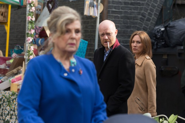 Max and Rainie spot Cora in EastEnders