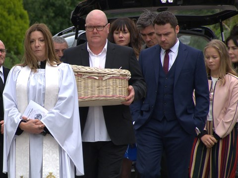 Emmerdale spoilers: Devastation for Paddy Kirk and Chas Dingle at baby Grace's funeral