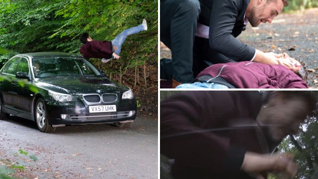 Ryan is hit by a car in Coronation Street