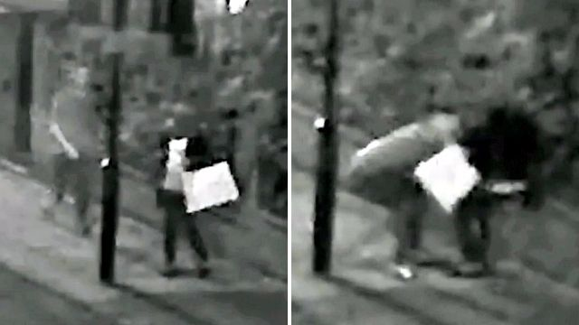 Mugger drags woman to floor and kicks her when she fights back