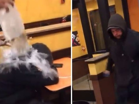 Dunkin' Donuts worker laughs as he tips cold water over sleeping homeless man