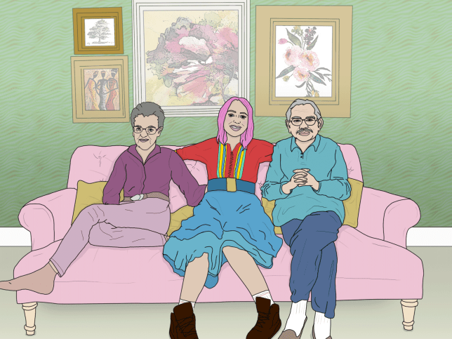 Young girl sitting on sofa with elderly people