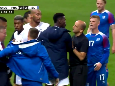 Paul Pogba storms onto pitch to confront Iceland players after dirty tackle on Kylian Mbappe