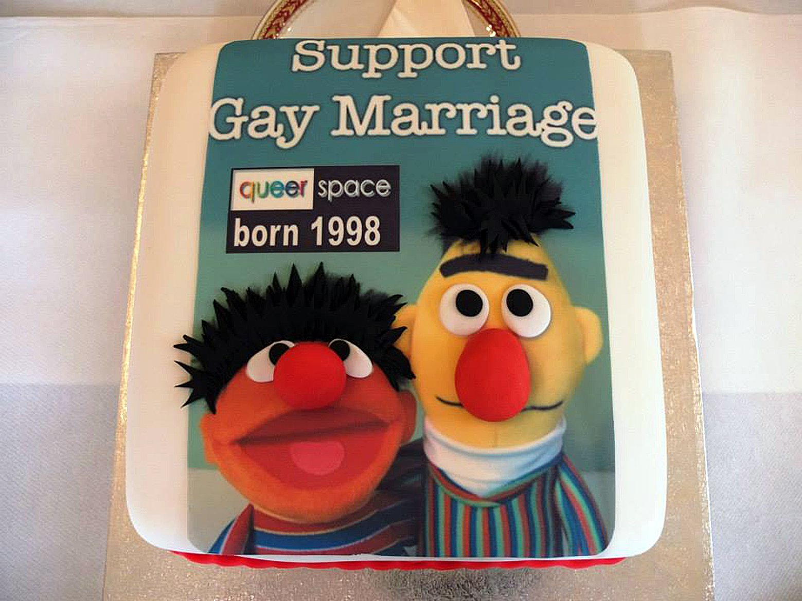 "The ""gay cake"" this one made by another bakery with the design support Gay Marriage with the faces of Sesame Streets Bert and Ernie. A judge has ruled that a Christian-run bakery discriminated against a gay customer by refusing to make a cake with a pro-gay marriage slogan. Ashers Baking Company, based in County Antrim, was taken to court by gay rights activist Gareth Lee. A Belfast judge said, as a business, Ashers was not exempt from discrimination law. pic posted on social network Picture by Pixel8000 07917221968"