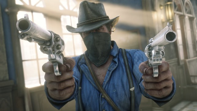 Arthur from Red Dead Redemption 2 wearing a balaclava dual weilding two revolvers