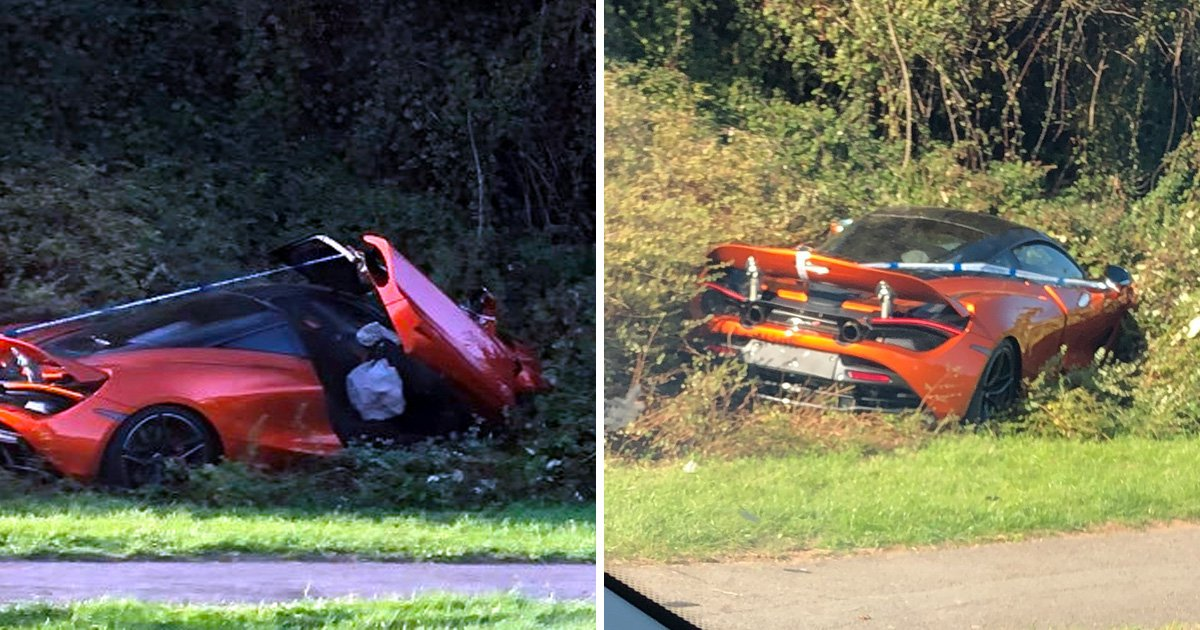 Orange McLaren somehow ends up in the bushes on a roundabout