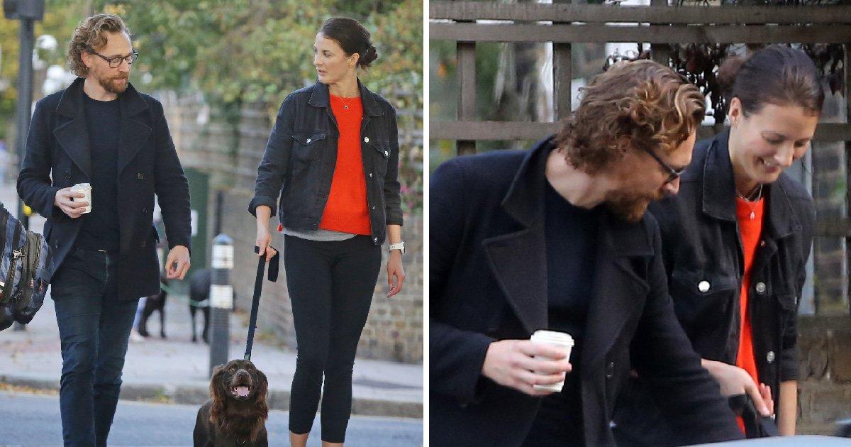 Tom Hiddleston rocks a bushy beard as he enjoys dog walk with musician pal