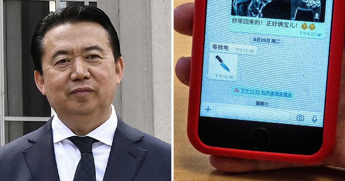 Missing Interpol president 'sent photo of knife' to wife before vanishing