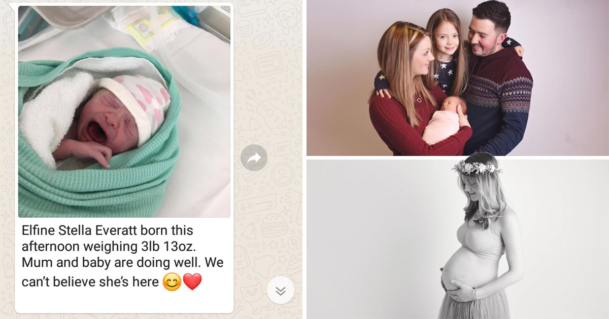 Mum kept her pregnancy a secret for nine months before announcing her new baby on WhatsApp