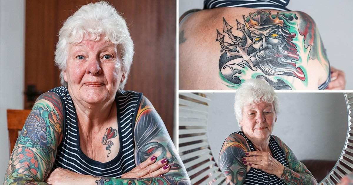 Great gran spends £2000 covering her body in tattoos