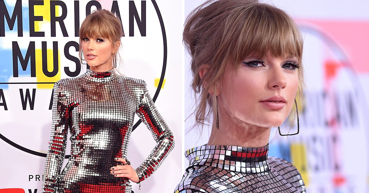 Taylor Swift becomes a walking mirrorball at the American Music Awards 2018 and we're obsessed