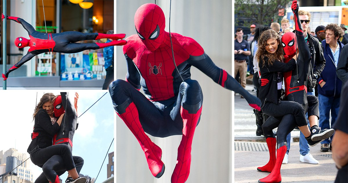 Spider-Man's 'new suit' unveiled in new images of Tom Holland and Zendaya filming Far From Home