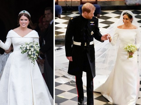 Princess Eugenie's bespoke wedding dress beats Meghan Markle's Givenchy design as royal bridal gowns are compared