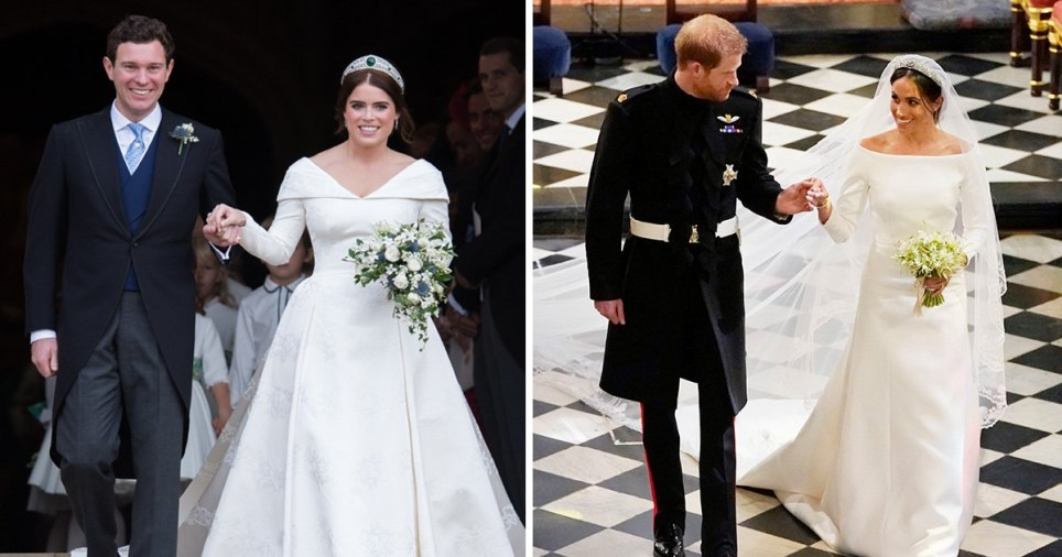 Meghan Markle Wedding Pictures.Eugenie S Gown Beats Meghan Markle S Wedding Dress As They Go Head